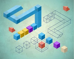 abstract infographics with cubes and wired structures