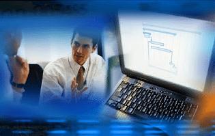 un hombre de negocios, un ordenador