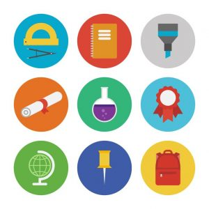 collection of colorful vector icons in modern flat design style on education and learning theme isolated on white background