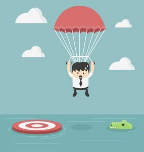 business man, parachute, crocodile, sea