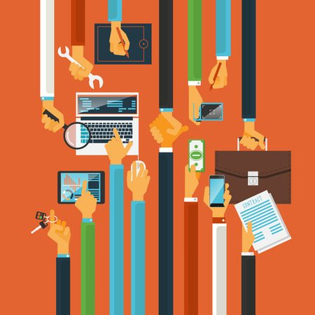 long hands characters keys to teamwork success production process concept with computers poster flat abstract vector illustration