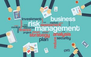 41064962 - risk management infographics poster with businessmen working around the word cloud. analysis and planning keywords. office objects