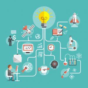 think ideas conceptual design. light, tools, men, computer, experiences, clock, dollar, book, rocket