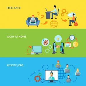 illustraciones de freelance, trabajar en casa, trabajos remotos
