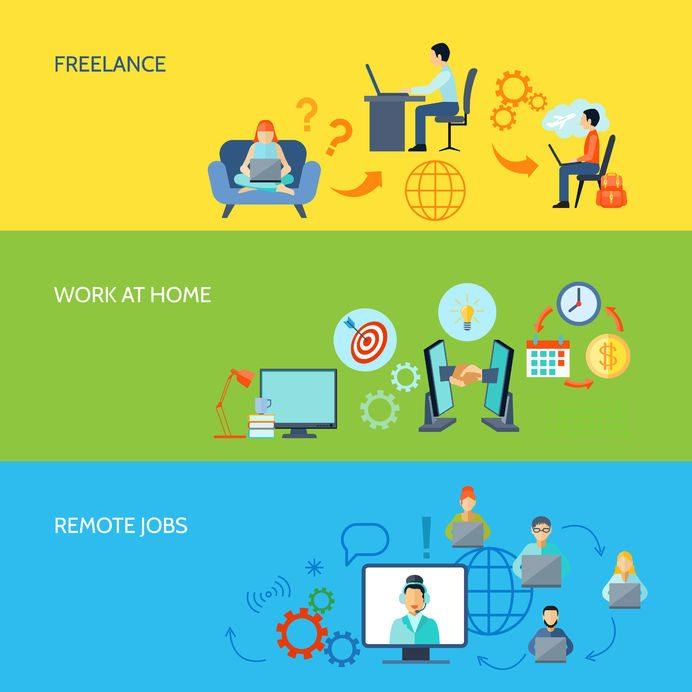 42623299 - freelance online work at home and remote jobs flat color banner set isolated vector illustration