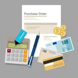 Orden de compra, tarjeta de crédito, dinero, calculadora