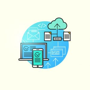 cloud computing vector. backing up and storing business data via cloud computing. vector illustration.