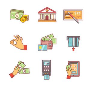 banking icons thin line set. currency operations, bank building, check, wallet and credit card, paper cash and coins in hands, pos machine. flat style color vector symbols isolated on white.