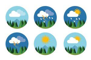 Icono del tiempo, cielo, nube, soleado, trueno, con la montaña
