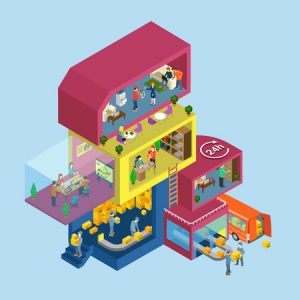 delivery service process office flat 3d web isometric infographic concept vector. exterior and interior isometry rooms with people staff workers. warehouse management. creative people collection.
