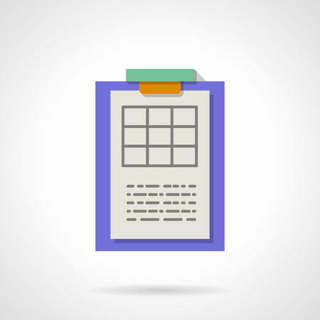 blank table for science research results. purple clipboard with paper. report, paperwork. flat color style vector icon. element for web design, business, mobile app.