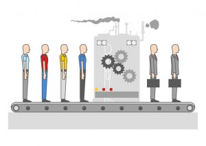 modern simple graphic of men transforming into professional businessman