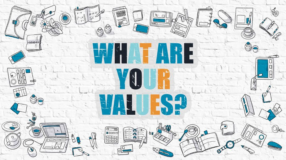 51713606 - what are your values - multicolor asking on white brick wall with doodle icons around. coaching concept. modern style illustration. what are your values question on white brickwall background.