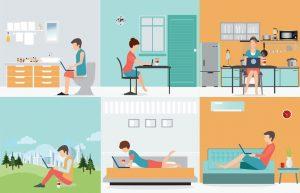 Trabajar en el baño, en su oficina, en la cocina, en el exterior, en su habitación, en su sala de estar