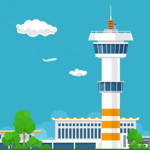airport terminal, airport with control tower ,