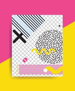 colorida neo Memphis patrón geométrico yuxtaponedo con brillantes bloques negritas, zig zags, garabatos, imágenes erráticas. diseño de elementos de fondo composición. compartimiento, prospecto, cartelera
