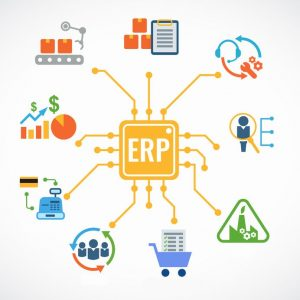 Enterprise resource planning (ERP) building flow module icon vector design art