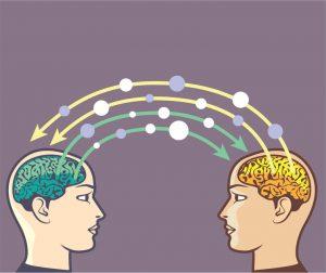 intercambio de información vector cerebro imagen de potencia