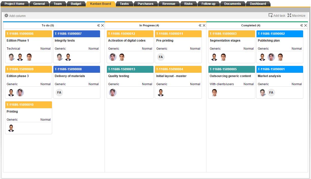 Kanban board, ITM Platform