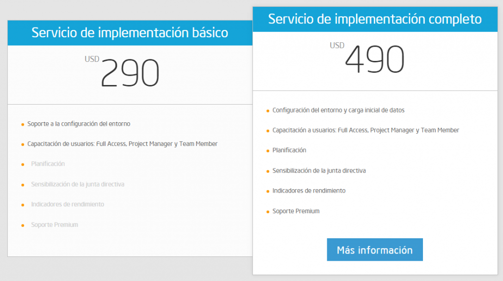 Servicio de implementación básico, servicio de implementación completo