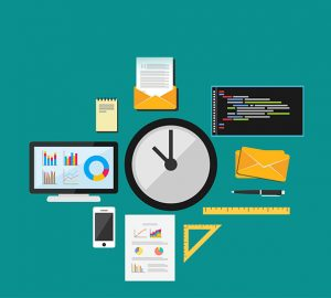 clock, tools, computer, phone, letter, graphs, diagrams