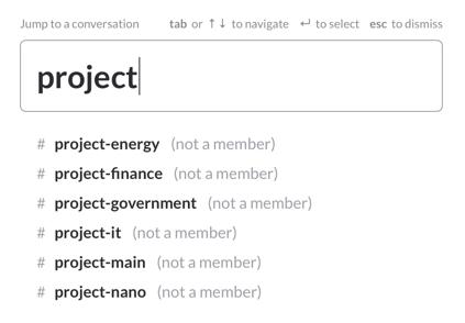 un canal por proyecto. barra de búsqueda para la palabra proyecto