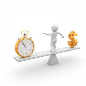 a white man balancing time and money. clock and dollar