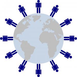 Gente azul dispuesta alrededor de un globo
