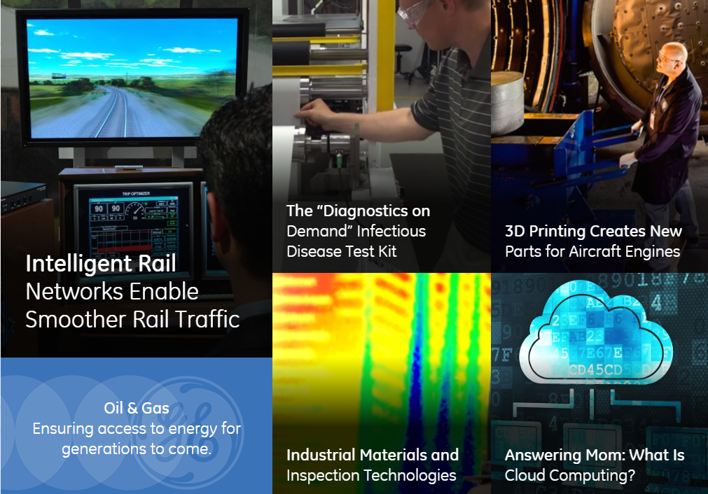 A sample of the diversity in GE's innovative portfolio, pictures