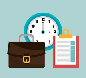 clock, paperwork, suitcase