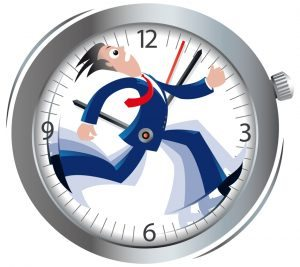 businessman running, clock, time, late