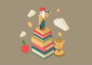 A guy looking in a binocular, standing on a pile of books, clouds, stars, apple, Trophy